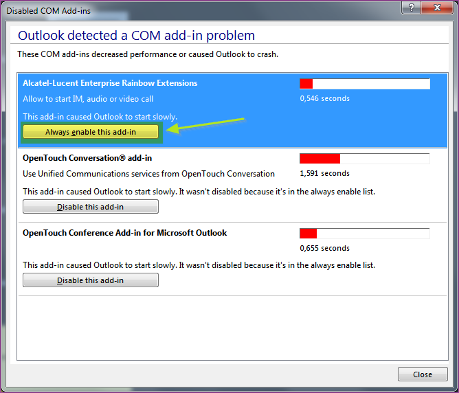 Rainbow Outlook Add-in is not displayed in Microsoft